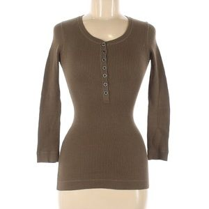 Burberry Thermal Olive Green Snap Button Top